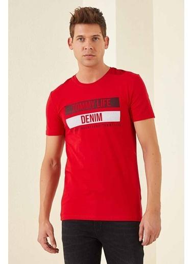 Tommy Life Denim Baskılı O Yaka Erkek Tshirt Kırmızı